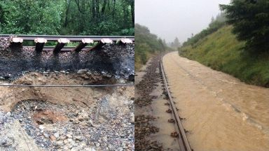 Closed: The West Highland railway line was shut due to severe flooding.