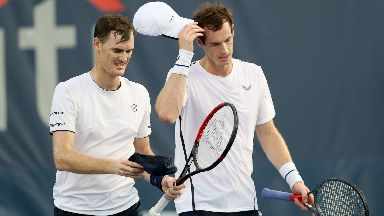 Brothers: Andy lost to Jamie Murray in doubles.