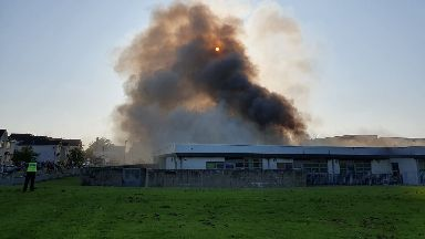 Fire: A blaze has ripped through Woodmill High School in Dunfermline.