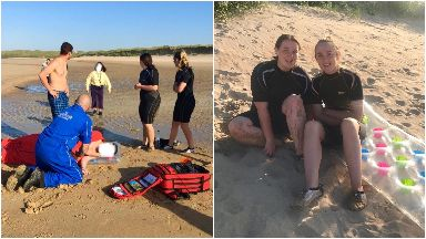 Teens rescue man and child from drowning.