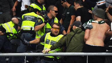 Police: Celtic fans clashed with officers.