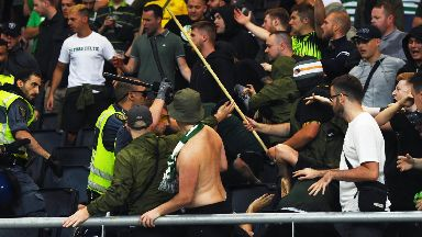 Ugly scenes broke out in the Celtic section.
