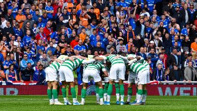 Huddle: The Celtic team before kick-off.