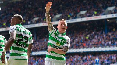 Game over: Celtic's Jonny Hayes celebrates his winner.