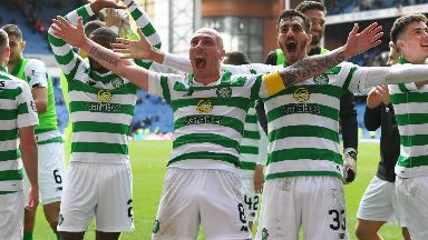 Winners: Celtic beat Rangers at Ibrox.