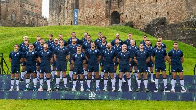 The Scotland squad lined-up outside Linlithgow Palace.