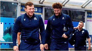 Flying out: The Scotland squad at Edinburgh Airport.