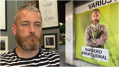 Brian Jobson and the billboard spotted in Seville.