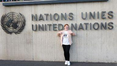Schoolgirl: Hannah Richardson took part in the UN event.