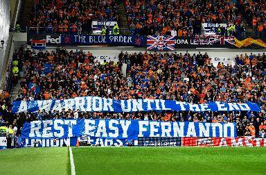 Banner: Rangers fans in tribute to Ricksen.