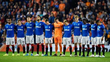 Rangers: The players wore black armbands in Ricksen's memory.