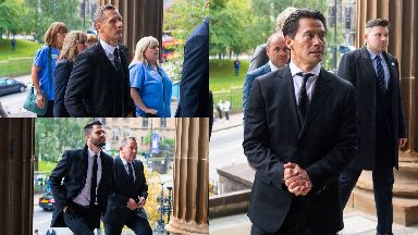 Church: Peter Lovenkrands, Steven Thompson, Billy Dodds and Michael Mols ahead of the service.