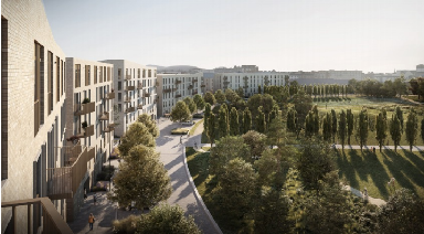 Green light: How the new flats and park will look.