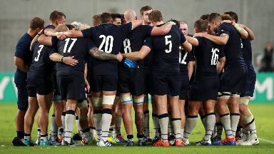 Scotland players celebrate after the dominant win.