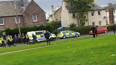 Edinburgh: Police swooped in on Ferry Road Drive.