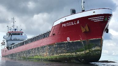 MV Priscilla: The ship grounded in the Pentland Skerries off Orkney.