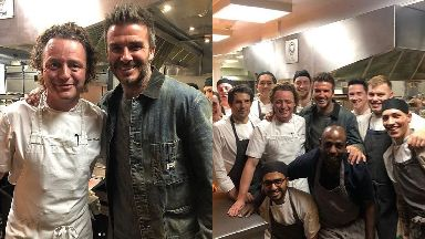 Leith: David Beckham popped into Tom Kitchin's restaurant in Leith.