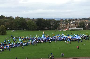 Marchers: Thousands in Edinburgh.