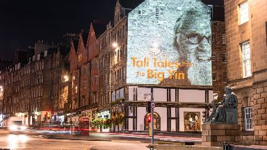 The projection lit up the Royal Mile in Edinburgh.