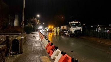 Flooding: Barriers erected in Stonehaven.