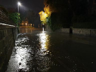 Surface water cut off streets to residents.