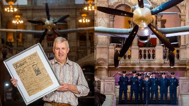 Family: Colin McKellar and members of the current 602 (City of Glasgow) Squadron at Kelvingrove Museum.