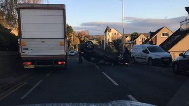 Inverkeithing: A car ended up on its roof.
