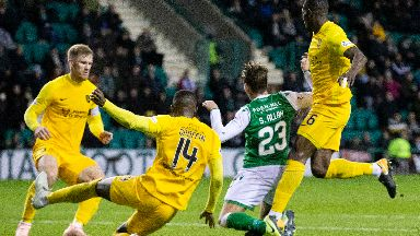 Hibs were given the chance to equalise from the spot.