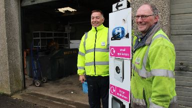 Sharp-eyed: Council workers George Burgess and Jim Durkin.