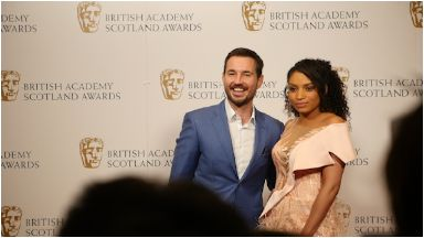 Line of Duty star Martin Compston attended the awards with his wife Tianna.