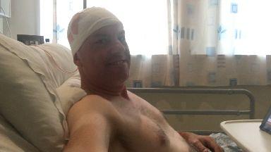 Jak Deschner following brain surgery at the Queen Elizabeth University Hospital.