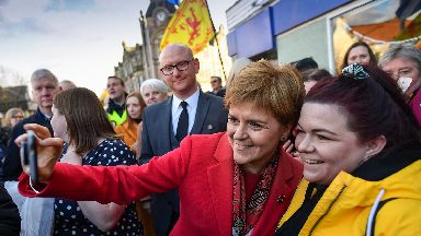 Election: Nicola Sturgeon on the campaign trail in Dalkeith.