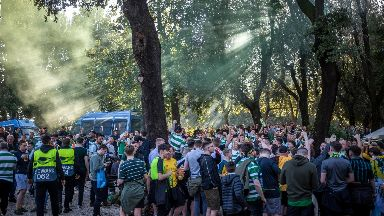 Celtic fans were in good spirits in a park before the match.