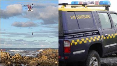 Rescue: Rocks at Whitehills, Aberdeenshire