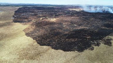 Aftermath: A huge area of scorched earth.