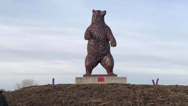 towering bear sculpture has been unveiled in Dunbar