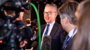 Gove: Pictured at the ITV Debate on Tuesday night.