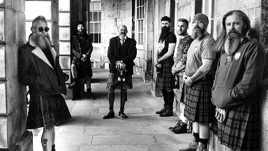 Kilts and Peaky Blinders-style clothing features in the images.