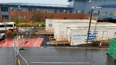 Temporary: An operating theatre is being set up in the car park