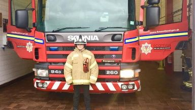 Grand tour: Nathan was welcomed to Eyemouth Fire Station.