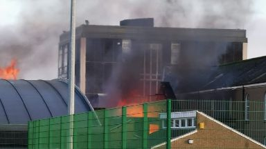Severe: Firefighters are tackling the blaze