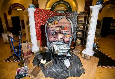 Artwork celebrating the life of Scots industrialist Andrew Carnegie . Photo credit: SWNS