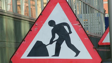 Roadworks: Work halted after human remains found.