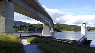 Eilean Ban: Tiny island supports part of the Skye road bridge.