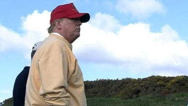 Fury: Trump opposes turbine plan near Aberdeenshire golf course.