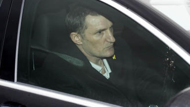 Sharp exit: Tony Mowbray leaves Lennoxtown after talks with Celtic chief executive Peter Lawwell.