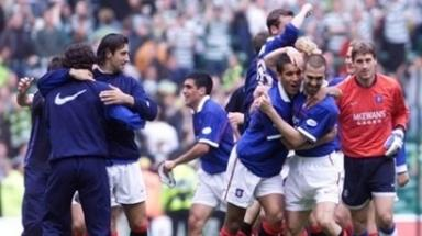 Unwanted: The SPL were keen to avoid the ugly scenes that marred Rangers league win at Celtic Park in 1999.