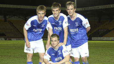Band of brothers: Keaghan (front), Kyle, Sheldon and Devon Jacobs all featured for Livingston on Tuesday.