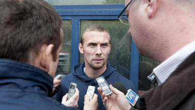 Dens victim: Colin McMenamin talks to the gathered press after Dens Park exit.