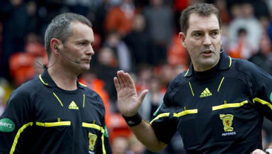Steven Craven (left) and Dougie McDonald were criticised for their handling of a penalty incident at Tannadice.
